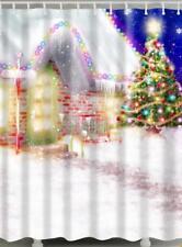 Christmas Outside Xmas Tree & Decorated House Lights Bathroom Shower Curtain