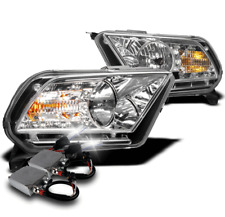2010-2014 FORD MUSTANG CHROME CRYSTAL DRL LED HEADLIGHTS LAMP+50W 6K HID KIT NEW