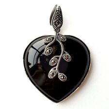 LARGE ONYX STONE HEART PENDANT Floral Marcasite Design .925 STERLING SILVER