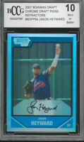 2007 bowman draft chrome draft picks refractor #bdpp54 JASON HEYWARD BGS BCCG 10
