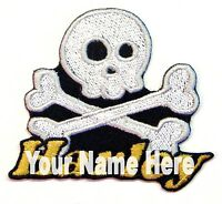 Skull and Cross Bones Custom Iron-on Patch With Name Personalized Free