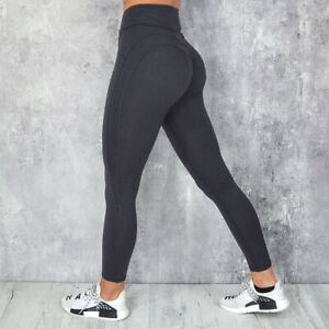 Women Ruched Yoga Pants Butt Lift Leggings High Waisted Workout Push Up Trousers