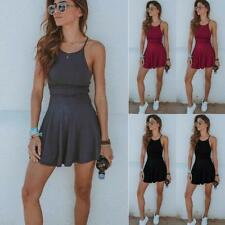Women Casual Sleeveless Mini Dress Party Beach Dress Short Summer Sport FW