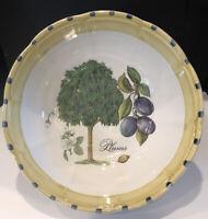 Designer Angela Frascone Italian Pottery Large Pasta Bowl Plum Tree Botanical