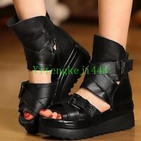 Fashion Gladiator Sandals Ankle Creepers Women's Black High Platform Boots New