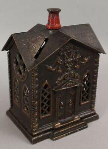 1882 Antique Kyser, Rex Japanned Cast Iron Building Villa Church Bank NO RESERVE