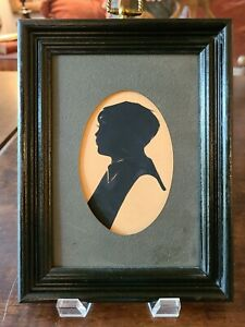 """Vintage~Young Boy~Profile Framed Silhouette~OVAL MATT~NO GLASS~6.5"""" x 8.5"""" ❤"""