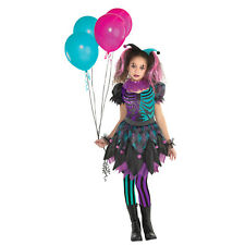 Childs Haunted Harlequin Fancy Dress Halloween Costume Kids Girls Clown Outfit