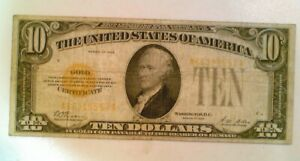 1928 United Stated Gold Certificate $10 Bill A66319557A No Holes Circulated