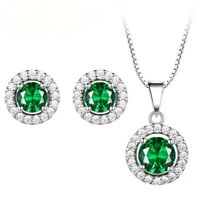 925 Sterling Silver Round Green Emerald CZ Pendant Necklace Stud Earrings Set
