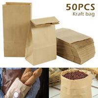 50X sacs transport en papier blanc brun SOS Kraft à emporter plat poignées dé D1