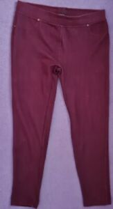 LADIES BURGUNDY STRETCH PULL ON JEGGINGS SIZE 16 INSIDE LEG 26  INCHES