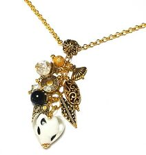 """Long 30"""" Gold Chandelier Cluster Necklace White Spotted Heart Bead Pendant"""
