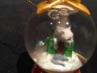 Danbury Mint Cat Snow Globe Christmas Ornament - You're Favorite Treat - Mouse