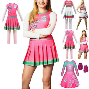 Disney Zombies 2 Cosplay Cheerleader Festive Girls Kids Fancy Dress Up Outfit **