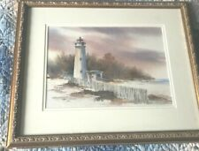 Michael D. Holter Double Sided Watercolor : Virginia Lighthouse