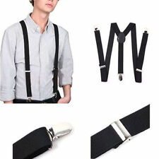Black Unisex Clip-on Suspenders Elastic Y-Shape Adjustable Braces
