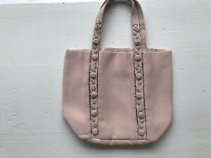 Prada  Silk Mini Tote Bag Handbag Pale Pink Logo Embroidered Rosettes Adorable