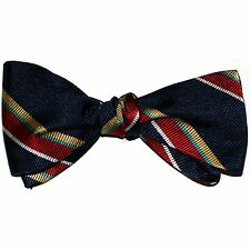 """NEW! Hand Made. 100% Silk. NAVY RED GOLD Stripes SELF TIE Bow Tie. 2.5"""" Wide"""