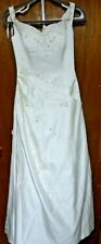 Pronovias Barcelona White Satin A-Line Wedding Dress w/ Beading & Train Size 10