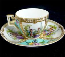 ANTIQUE DRESDEN PORCELAIN HELENA WOLFSOHN CUP & SAUCER TURQUOISE GROUND