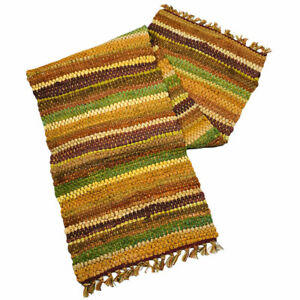 """Splendor Autumn Colors of Fall Striped Woven Chindi Cotton Table Runner 54""""L"""