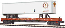 MTH Premier O Trains #470591 Pennsylvania Flat Car w' 48' Trailer 20-95157