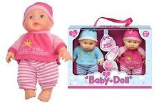 Kids Twin Baby Boy & Baby Girl 9'' Dolls Set Soft Body Pretend Play Toys Toddler