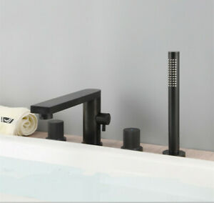 Deck Mount Tub Filler Faucet with Hand Shower Solid Brass 4-Hole Bathtub Faucet