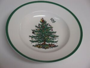 "Spode Christmas Tree 9"" Soup Plates Pasta Bowls Green Trim Set of 4 New Unused"