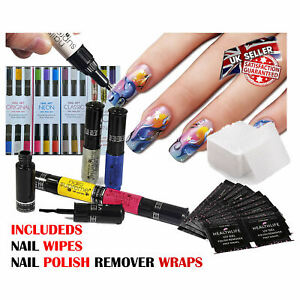 Nail Art Pens Set Varnish Polish Decorate Design Nails Supreme Wipe Remover Kit