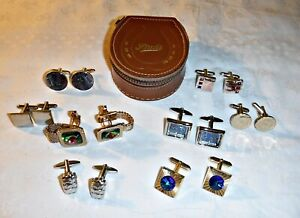 VINTAGE SUPERIOR QUALITY CUFFLINKS 8 PAIRS A ZIPPED LEATHER STUD CASE COLLECTION