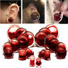 Halloween Blood Red Liquid Filled Double Saddle Ear Plugs Gauges Flesh Tunnels