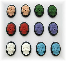 12 Goth Punk Emo Day of Dead (6 asst Color) SUGAR SKULL 18mm x 13mm CAMEOS LOT A