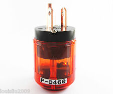 1pc Pure Copper P-046E 3pin US Power Male Plug IEC Connector for Audio Clear Red