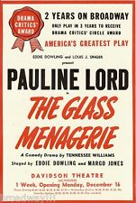 "Tennessee Williams ""GLASS MENAGERIE"" Pauline Lord 1946 Milwaukee Flyer"
