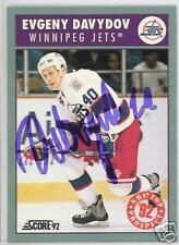 EVGENY DAVYDOV Winnipeg Jets 1992 SCORE AUTOGRAPHED HOCKEY CARD JSA