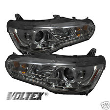 2008-2012 MITSUBISHI LANCER EVO 10 DRL LED PROJECTOR HEADLIGHTS LIGHTBAR SMOKE