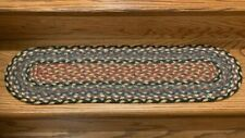 Braided Oval Burgundy, Blue and Grey Stair Tread by Earth Rugs