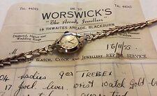 Stunning Ladies c. 1955 Vintage Heavy Solid 9ct Gold Trebex Watch - Has Receipt