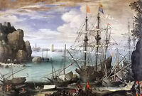 Oil painting paul bril - view of a port wonderful seascape with huge sail boats