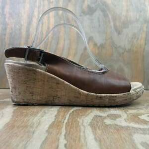 """CROCS Women's A-Leigh Brown Leather 3"""" Wedge Strap Sandals - Size 10"""