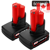 2 Pack 6000mAh M12 12V Replacement Battery for Milwaukee Lithium-Ion M12 XC 4...