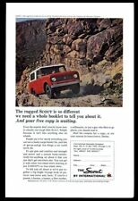 1964 International Scout red SUV rocky road color photo print ad