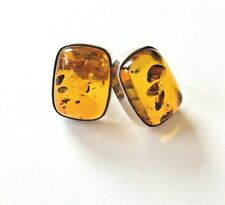 stunning Cognac AMBER stone pendant ~ silver 925 setting ~ inclusions