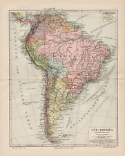 Antique map. South America. Political Map Of South America. c 1905
