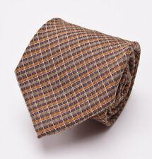 New $225 BORRELLI NAPOLI 7-Fold Silk Tie Light Brown-Orange Woven Check