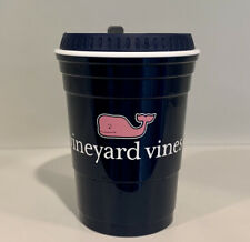 Vineyard Vines Game Day Cup Tumbler With Lid Blue Pink Whale 12 Ounces EUC