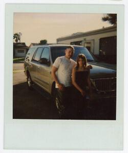 Vintage Color Polaroid Photo Young Couple Man Woman Pose Car Vehicle Auto Old 17