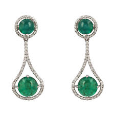 18K White Gold Emerald Gemstone Dangle Earrings Diamond Pave Anniversary Jewelry
